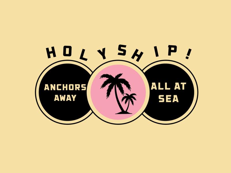 HOLY SHIP! logo design black illustration scissorfiesta palm tree vestival cruise music holyship palm