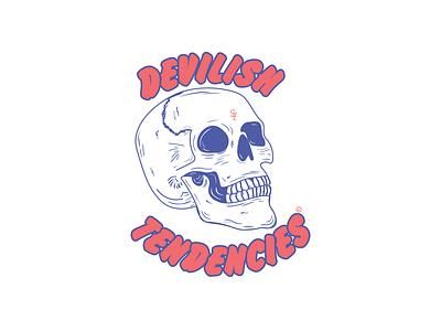 Devilish Tendencies blue coral living coral color of the year pantone doodle illustration scissorfiesta design skull logo script brush skull