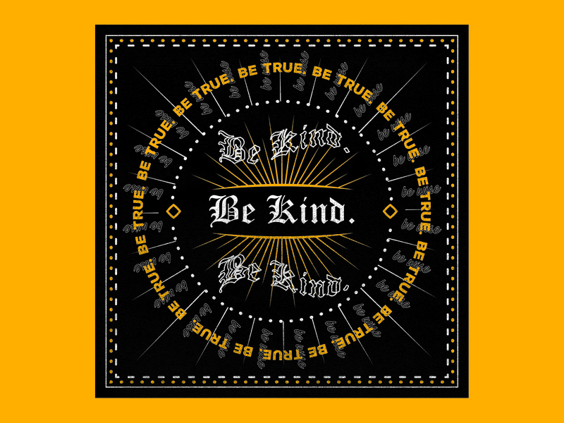 Be Kind symmetrical symmetry florida illustration scissorfiesta pantone gold yellow wise kind print halftone halftones dot noir black bandana