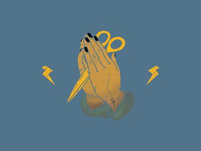 Cut hands pray gold vector yellow fiesta florida jacksonville doodle design scissor black illustration scissorfiesta praying hands