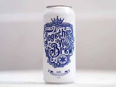 Together We Brew - Beer Can Design lion blue and white blue victorian typography beercandesign beercan beer