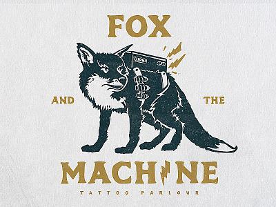 Fox And The Machine Tattoo Parlour illustration grunge tattoo machine fox icon branding logo