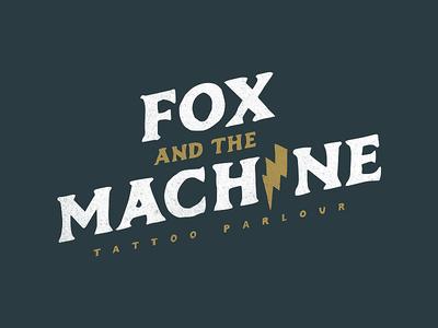 Fox And The Machine branding lightning tattoo wordmark retro grunge logo machine fox
