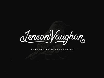 Jenson Vaughan v j branding cursive songbird bird type retro typography