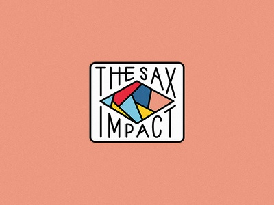 The Sax Impact yellow red blue typography polygon icon badge colourful music jazz sax saxaphone