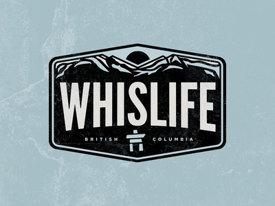 Whislife winter inukshuk typography bold mountains whistler bc travel patch