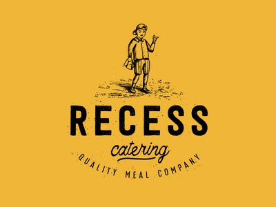Recess Catering lunch food child kid grunge icon logo recess typography branding