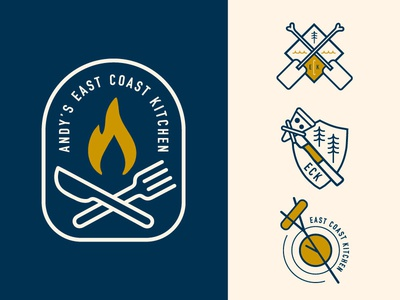 East Coast Kitchen campfire ocean food patch knife fork chef cooking fire branding