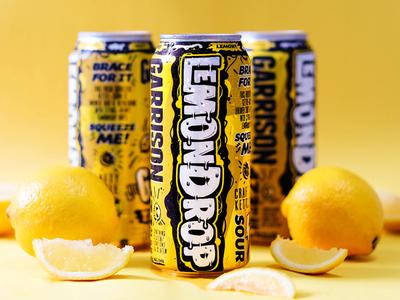 Lemondrop Beer Can kettle sour bubbles packaging drip branding yellow lemon beer can beer