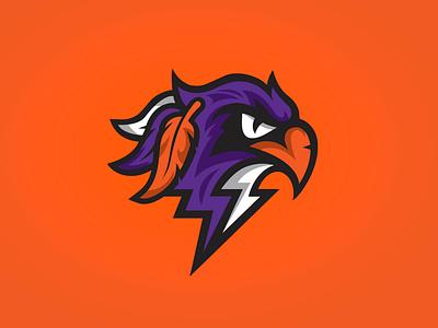 Halifax Thunderbirds sports badge sports orange purple thunderbird thunder bird