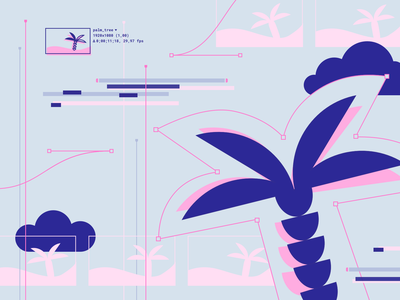 Design Islands - Glitchy summer vibes article tutorial education post vector blogpost blog glitch after effects aftreffects pastel island summer palm illustration