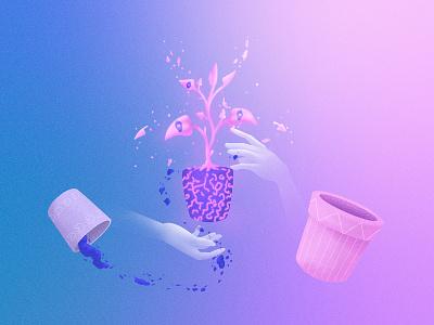 Outgrowing cintiq wacom cintiq photoshop transition grow switch cycle fantasy dreamy dream nature plant illustration
