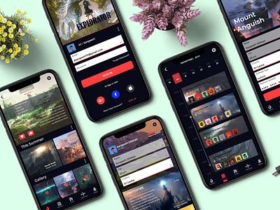 EXPLORATOR locatoins discover exploration profile sign in booking travel mobile app app design iphone simple ux graphic design ui