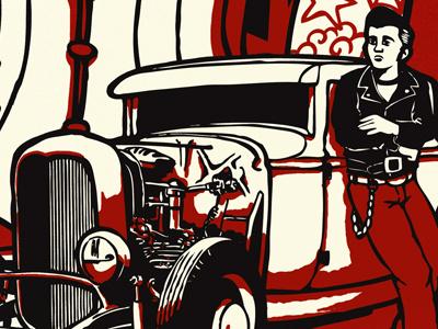 The Midnight Rover - Rockin' Class poster 02 red propaganda vinyl record cover retro hotrod pinup rockabilly tattoos rock n roll rock poster