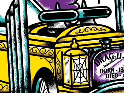 Drag-u-la, George Barris' car from the Munsters 60s vintage tv munsters barris illustrator illustration dragster hot rod