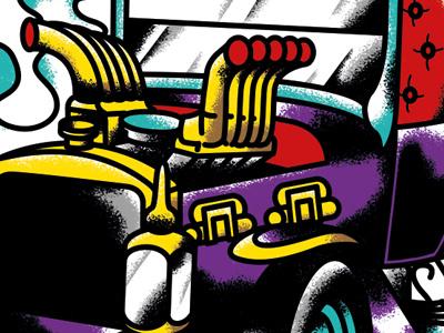 MunsterKoach, George Barris' car from the Munsters 60s vintage tv munsters barris illustrator illustration dragster hot rod
