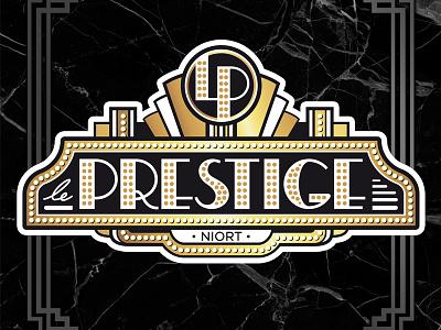 Le Prestige typography rock n roll france dancehall theater entrance retro 1930 art deco design logo illustrator vintage illustration
