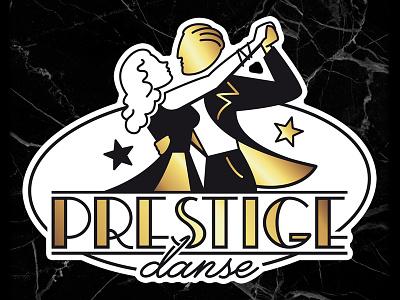Prestige Danse 1930 art deco dancers prestige danse characters artwork france logo typography design retro rock n roll vintage illustrator illustration