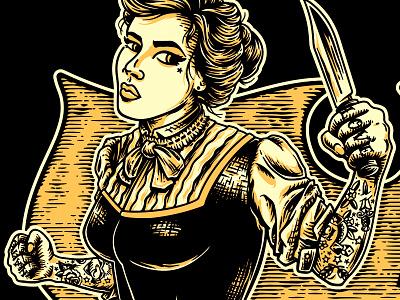 APG - Stay Bladed - Women tshirt (detail) lady fight knife 1890 1900 victorian tattoo logo design artwork typography retro rock n roll vintage illustrator illustration