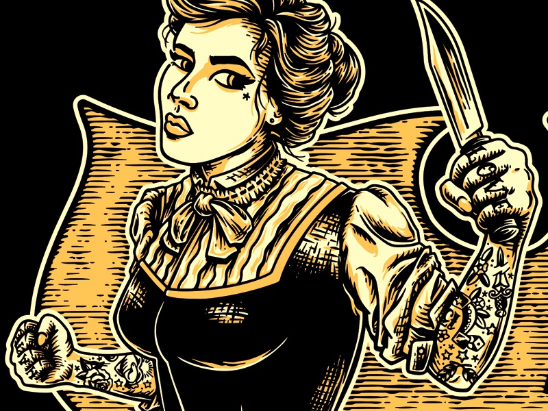 APG - Stay Bladed - Women tshirt (detail) lady fight knife 1890 1900 victorian tattoo logo design artwork typography retro rock n roll vintage illustrator illustration