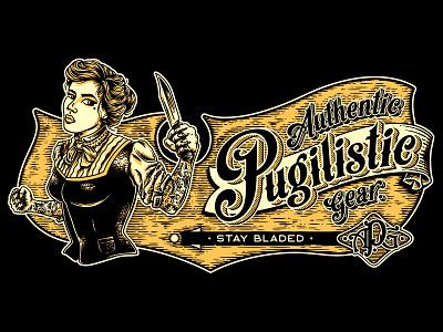 APG - Stay Bladed - Women tshirt monogram 1900 victorian monogramme streetfight knife tattoo fight logo design artwork typography retro rock n roll vintage illustrator illustration