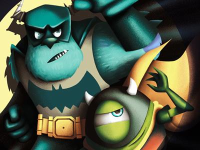 Batmon monsters inc university pixar mike sulley batman robin dc comic character illustration