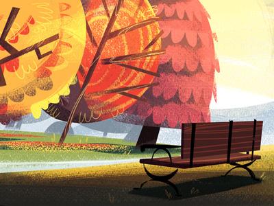 Bench digital illustration park bench autumn trees