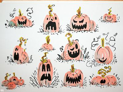 Pumpkins inktober pumpkins halloween illustration traditional sketches