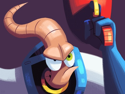 Earthworm Jim sketch dailies character illustration fan art