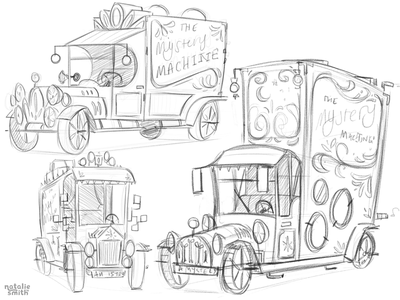 Mystery Machine Sketches planet-pulp illustration vehicle scooby-doo