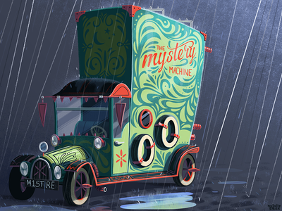 Mystery Machine planet-pulp illustration vehicle scooby-doo