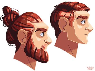 Hair Practise digital character illustration