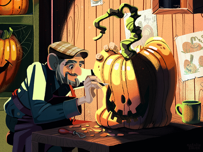 The Pumpkin Carver illustration storybook character halloween pumpkin carving pumpkin
