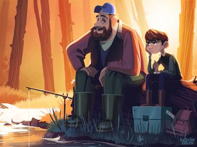 Fishin' illustration storybook childrens kidlit character fishing