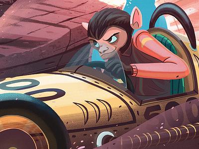 Animal Racers childrens digital illustration animals rabbit cars racing monkey