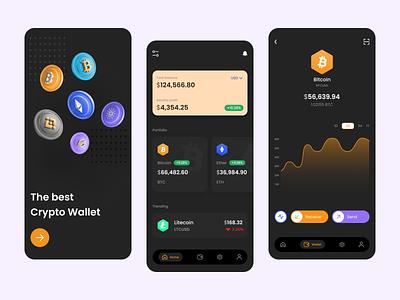 Crypto Wallet App concept fintech app payment finance fintech mobile app webapp mobile ui best ui best dribble shot blockchain bitcoin crypto ux design design ui design minimal ux ui app clean