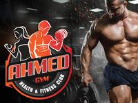 Ahmed Gym health and fitness club logo branding