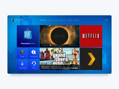 PS4 Concept UI design challenge ia ui  ux ui concept console games video games gaming playstation ps4