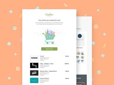 Creative Market Reminder Emails design creative marketplace online shopping shopping ecommerce email campaign email design email