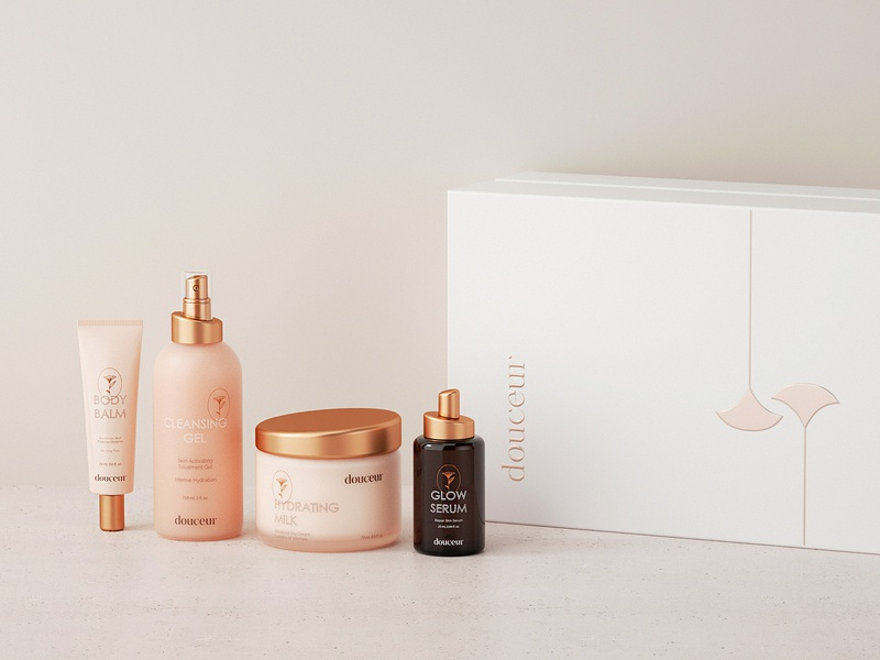 Beauty Packaging for Skincare Brand Douceur logo cosmetic packaging cosmetics cosmetic identity system logotype minimalism cream serum product design luxury package design packaging brand identity branding brand beauty brand beauty skincare