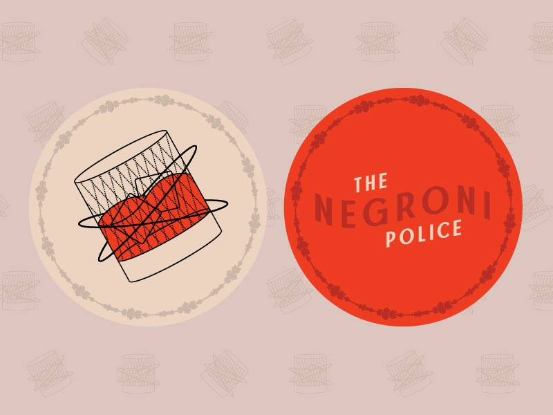 Sticker Mule x Negroni Police design type naming text typography pattern print branding logo illustration police cocktail party bar negroni contest stickermule coaster alcohol