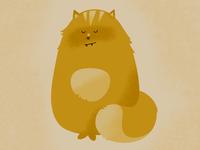Illustration. Redhead fluffy cat