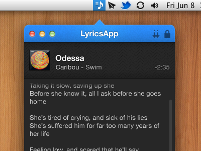Lyrics App lyrics mac app ui wip comma comeleon