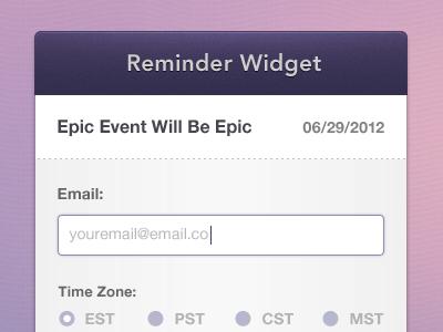 Event Reminder Widget minimal widget reminder purple