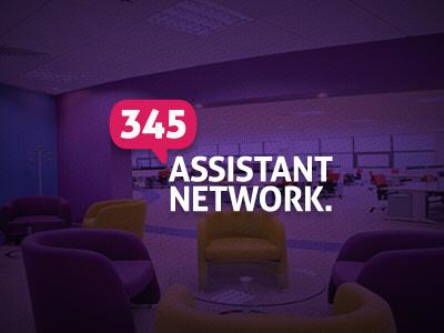 345 Assistant Network Logo purple identity logo bubble pink branding network assistant