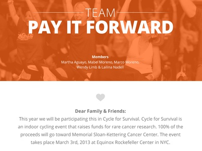 Cycle for Survival web design one page love responsive orange typography picons web design