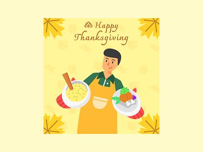 Thanksgiving Poster Vector Illustration food thanksgiving flat illustration flat design vector illustration graphic design design