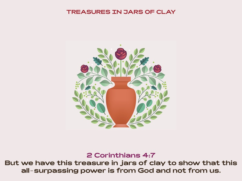 Treasure in jars of clay god jesus christ jesus bible verse bible jar plants roses modern ilustracion icon flat graphic design vector illustration