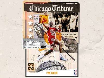 I'm Back 🏀 nba dream team bulls chicago bulls chicago 23 basketball nike jordan mj michael jordan logo branding modern graphic ilustracion design vector illustration