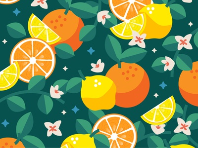 Summer Vibes 🍋🍊 leaves leaf flower fruits summer illustration sumer pattern art orange patterns lemons lemon pattern design pattern modern ilustracion flat graphic design vector illustration